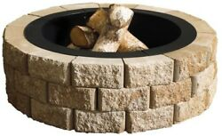 Stone 40 In Round Fire Pit Kit Outdoor Centerpiece Wood Burning Backyard Heating