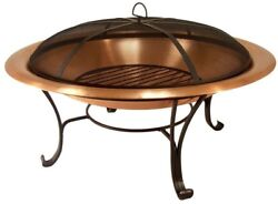 Bronze Copper Fire Pit Bowl Wood Burning Cover Outdoor Backyard Garden Heating