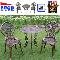 Wrought Iron Rose Patio Set Bistro Table And Chairs 3pc Garden Outdoor Decor
