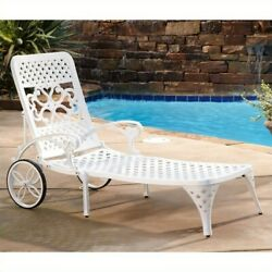 Home Styles Biscayne Chaise Lounge Chair in White Transitional Patio Lounger