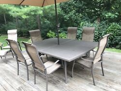 17 piece Patio Set Table 84x60 6 chairs & umb4 lounges 2 Sling back chairs