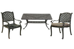 3 piece patio bistro set Nassau outdoor coffee table and chairs Desert Bronze