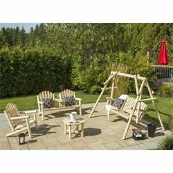 Bestar White Cedar 4 Piece Adirondack Furniture Set in Natural