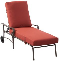 Oak Cliff Metal Chaise Lounge Bench Chair Chili Cushions Outdoor Patio Furniture