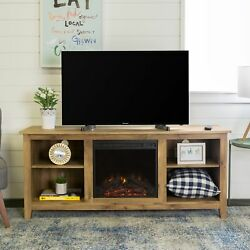 58 Inch Barnwood Wood TV Stand Electric Fireplace Adjustable Shelves Home Decor