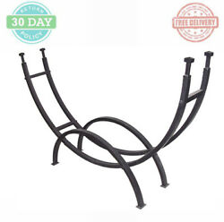 Outdoor Curved Firewood Rack Fireplace Warmer Black Steel Frame Ample Storage