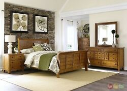 Grandpas Cabin Transitional Rustic Aged Oak Sleigh Bed 4pc Bedroom Furniture Set