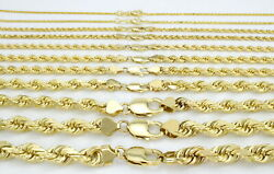 Solid 14K Yellow Gold 1-10mm Rope Chain Link Pendant Necklace Men Women 16
