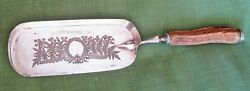 ANTIQUE SILVER PLATED CRUMB BUTLER TRAY ETCHED DESIGN STAG HANDLE