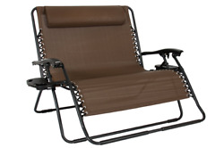 Folding Beach Chair 2 Person Lounge Patio Outdoor Yard Reclining Camping RV Deck