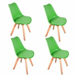 (Green) - Panana 4x New Arrival Tulip Chairs Set Solid Wooden Legs Plastic