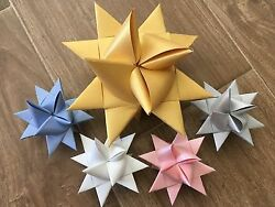 6 2 inch Blue Moravian Paper Star Christmas Ornaments Now REDUCED PRICE $6.00
