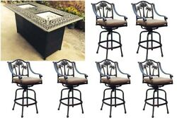 Propane Fire Pit Set 7 Piece 1 Double Burner Table 6 Palm Tree Patio Bar Stools