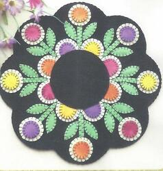 Penny Posies felted wool applique Penny Rug Candle mat pattern By Cath's Pennies