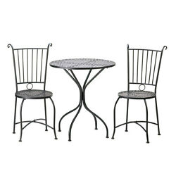 Table And Chairs Set Garden Patio Furniture Black Metal Round Top Accent New