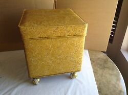 Vintage Rolling Sewing Supplies Storage Bench With Misc. Supplies