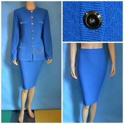 St. John Knits Collection Blue Jacket Skirt L 12 14 2pc Suit Gold Buttons Chain
