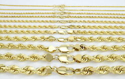 Real 10K Yellow Gold 2mm to 7mm Diamond Cut Rope Chain Pendant Necklace 16
