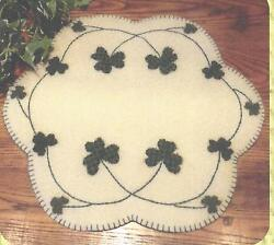 Shamrocks felted wool applique penny rug candle mat pattern by Cath's Pennies