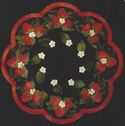 Strawberry Patch felted wool applique penny rug candle mat pattern