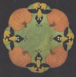 Those Blasted Crows felted wool applique penny rug candle mat pattern