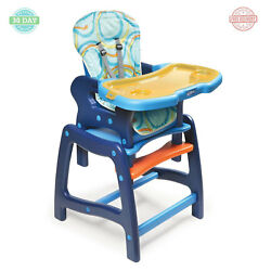 Baby High Chair Feeding Play Table Desk Removable Plastic Tray - Blue