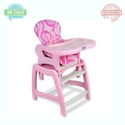 Baby High Chair Toddler Feeding Play Table Desk Removable Plastic Tray - Pink