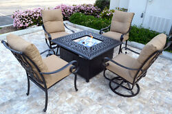 5 Piece Patio Fire Pit Chat Set Propane table outdoor Santa Anita Swivels Chairs