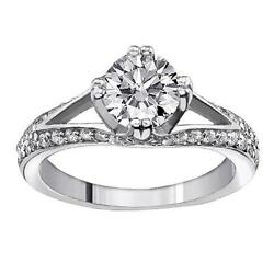 0.88 CT Split Shank Diamond Engagement Ring in Platinum Pave Setting NEW