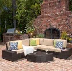 Outdoor Sectional Seating Wicker Patio Furniture Conversation Set Cushions Brown