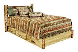 LOG QUEEN Platform Bed with Storage Dovetail Drawers Amish Made Furniture Cabin