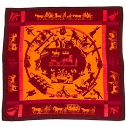 AUTH HERMES  `Jeux d'Ombres` GM Cashmere Shawl MaroonOrangePinkAubergine
