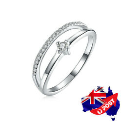 New Genuine 925 Sterling Silver Crystal Wedding Engagement Band Ring Stunning