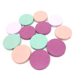 50Pcs Flat Round Wood Spacer Beads DIY Baby Coin Paint Wooden Jewelry Making