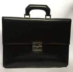 Bally men's bag Black Leather Briefcase Laptop Case Made in Spain
