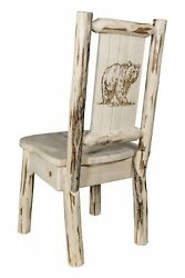 Amish Log Dining Room Chairs with Laser Engraved Design Rustic Lodge Cabin NEW