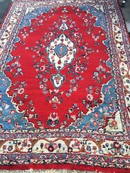 8.10x5.8 Vintage antique Red Floral Design Hand Knotted Wool Rug Made in Persia