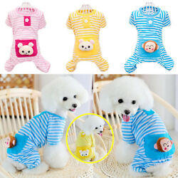 Stripe Jumpsuit Pajamas Pet Bear Clothes Dog Puppy Costume Coat Cute For Apparel $9.99