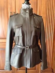NWT LORO PIANA SPANISH OILED LAMBSKIN LEATHER COAT JACKET CASHMERE STORM SIZE 44