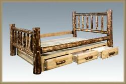 QUEEN Log Storage Bed Six Dovetail Drawers Amish Made Lodge Cabin Furniture