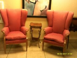 Vintage Mod Pair of Retro Art Deco Red Wing Back Chairs