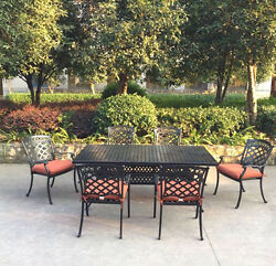 Patio dining set 7 piece outdoor aluminum  furniture 1 table 6 arm chairs