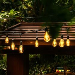 Outdoor Patio String Light LED Wired Landscape Lighting Weather Resistant 48-ft