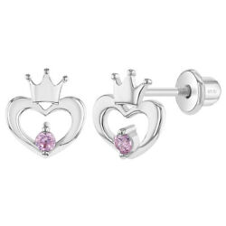 925 Sterling Silver Pink CZ Open Heart Crown Screw Back Earrings for Toddlers