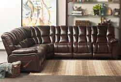 Reclining Sectional Leather Match Recliner Wedge Loveseat Plush Cushion Arms New