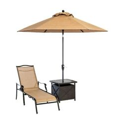 Hanover - Monaco Chaise Lounge Chair with 11 Ft. Umbrella and Side Table - Al...