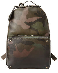 Valentino Mens  Camouflage Leather Backpack