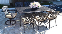 9 piece patio dining set St. Augustine chairs and Elisabeth rectangular table.