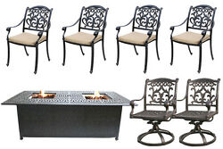 Propane Fire Pit Table Cast Aluminum Outdoor Patio Furniture 7 Piece Dining Set