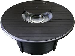 Hiland F-1350-FPT Extruded Aluminum Round Slatted Fire Pit Large Black Clear